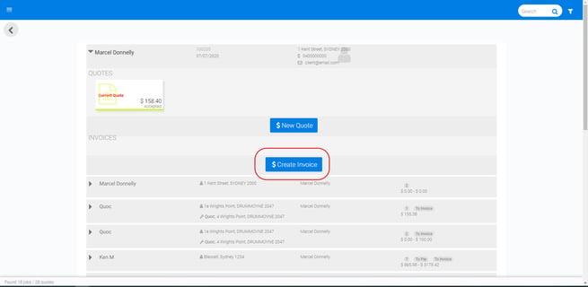 click create invoice